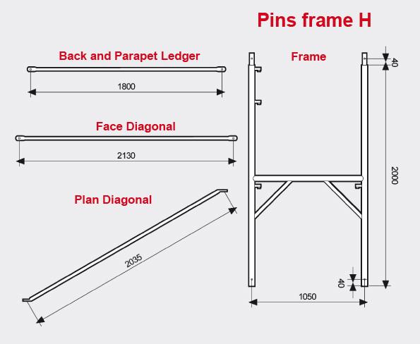 Pins frame H