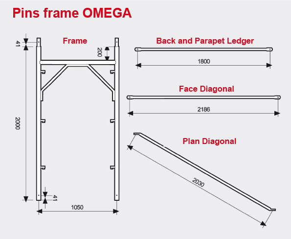 Pins frame scaffolding Omega